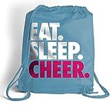 Eat. Sleep. Cheer. Cinch Sack | Cheerleading Bags by ChalkTalk SPORTS | Light Blue