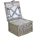 2 Person Grey Checked Fitted Wicker Willow Picnic Hamper Basket with Cooler Cutlery Plates