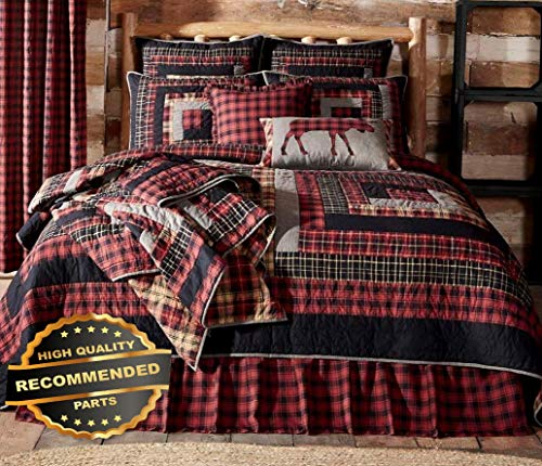 (Werrox Cumberland Twin Queen King or Cal King Quilt :RED Black Plaid Rustic Lodge Cabin Twin Size   Quilt Style QLTR-291267777)