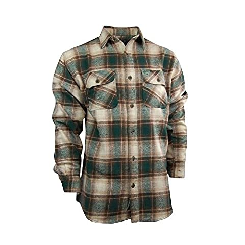 Canyon Guide Men's Heavy Plaid Flannel Shirt (X-Large, Green Ombre) - Canyon Guide