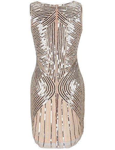 Vestito Paillettes Beige Gatsby Le 1920 PrettyGuide Donne Con Rilievo Grande Frange In c7q4606Pa