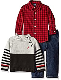 Nautica Baby Boys' Three Piece Set with Woven Shirt, Sweater, Denim Jean