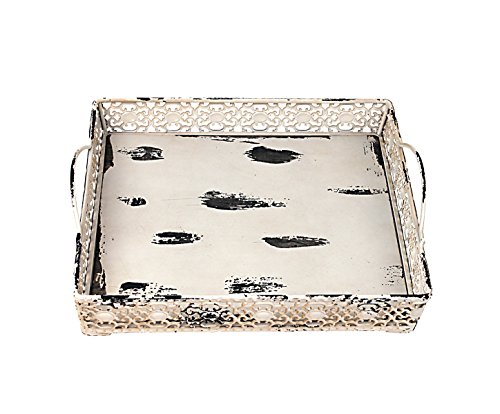 Coffee Beige Tray - Attraction Design Metal Artisanal Square Tray, Cream