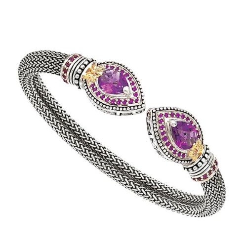 Rhodolite Bracelet Amethyst (Enchanta Collection designer gold and silver, amethyst and rhodolite bracelet)
