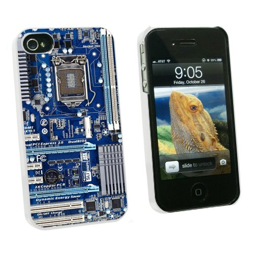 Graphics and More Blue Computer Motherboard - Processor CPU Memory - Snap On Hard Protective Case for Apple iPhone 4 4S - White - Carrying Case - Non-Retail Packaging - White 4s White Hard Case