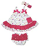 Rainbow Polka Dots Swing Top Bloomer Pant Outfit Set Baby Girl Clothing Nb-24m (0-12month)
