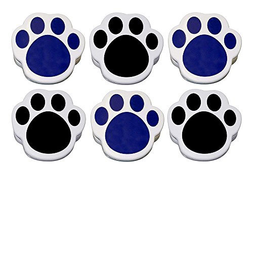 Lot of 6 - Plastic Paw Print Magnetic Memo Clips, Large, Sturdy, Black & Blue -