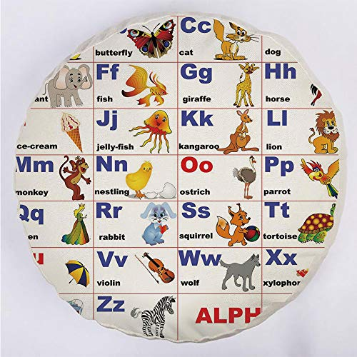 (YOUWENll Round Decorative Throw Pillow Floor Meditation Cushion Seating/Animals Placed on Letter of The Alphabet Teachers Chart Classroom Kindergarten/for Home Decoration 17