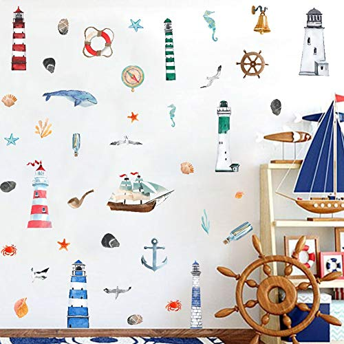Watercolor Nautical Wall Decal, Lighthouse Sailboat Anchor with Ocean Sea Life Wall Sticker for Kids Boy Decoration (41pcs Nautical Theme Decals)