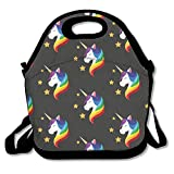 Unicorn with Closed Eyes Rainbow Insulated Neoprene Lunch Bag-Removable Shoulder Strap-Reusable Thermal Thick