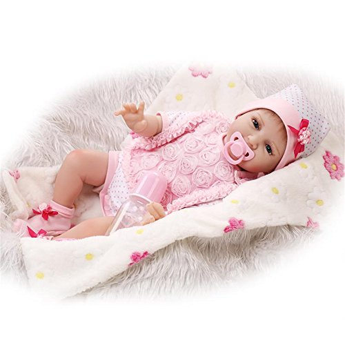 [Reborn Baby Doll Soft Silicone Body Pink Heart Bib Girl 22-Inch Fan Moon] (Cabbage Head Costume)