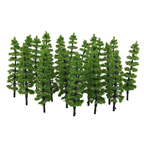MagiDeal 20pcs Green Model Pine Trees Layout Train Railway Scenery