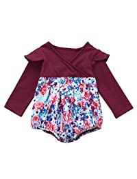 Infant Baby Girl Fall Clothes Long Sleeve Floral Romper Jumpsuit Sunsuit Outfits