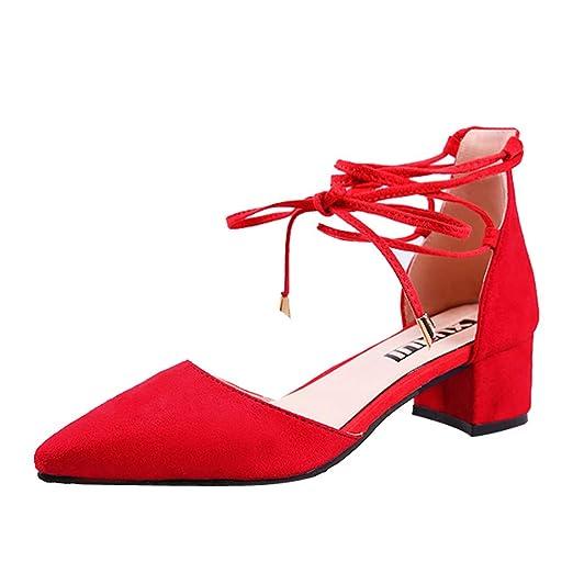 Mujer Tiras Zapatos Medio Sandalias Sólido De Color Tacón vWwaq0