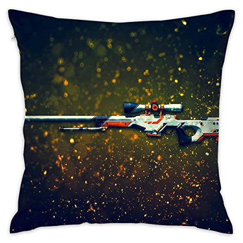 - Reteone Gun Digital Art Graphics Pillowcase Covers - Zippered Pillow Case Cover, Pillow Protector, Best Throw Pillow Cover - Standard Size 18x18 Inch, Double-Sided Print Pillowcases