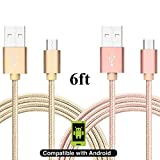 [2 Pack] Asstar Micro USB Cable Android Charger Nylon Braided Extra Long 2.0 Micro USB Charging Cable Cord for Samsung Galaxy, HTC, Huawei, LG, Motorola and Other Tablet (gold pink)