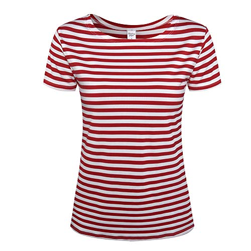 Women's Short Sleeve Striped T-Shirt Tee Shirt Tops Loose Fit Blouses (X-Large, Red - Fitted Shirt Striped