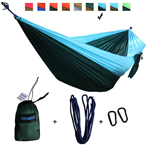 Hammock for Camping- Top Rated Double Hammocks - Best Quality Gear For The Outdoors Backpacking Survival or Travel - Portable Lightweight Parachute 210T Nylon(Sky Blue/Dark Green)