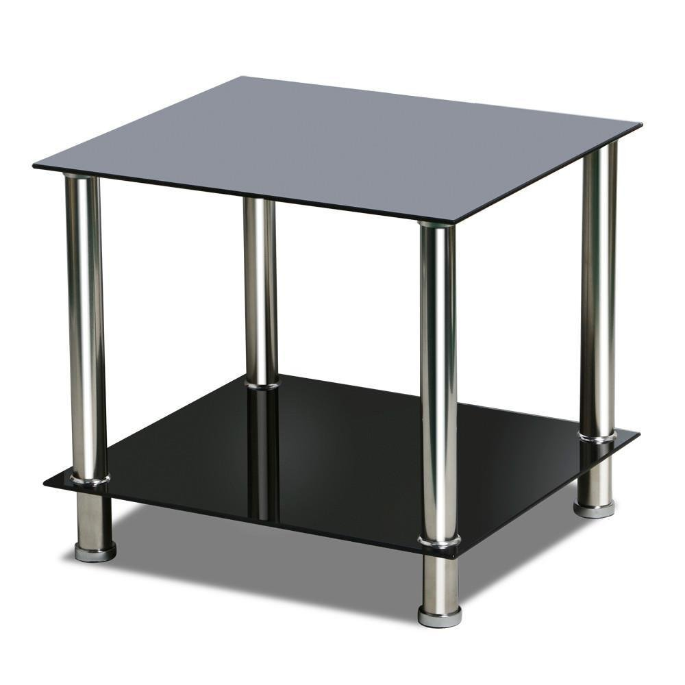 Popamazing Square Glass Side Table Stainless Steel Storage Shelf Black