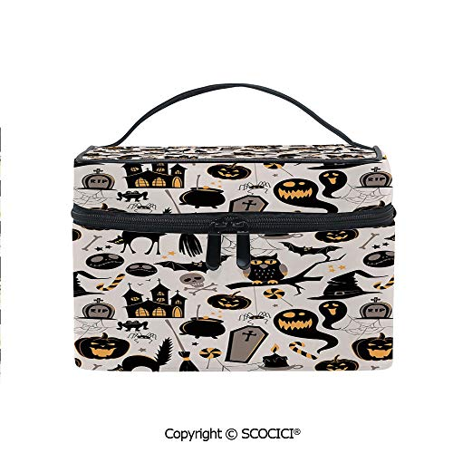 Printed Durable Portable Travel Cosmetic Bags Halloween Cartoon Jack o Lantern Tombstone Skulls and Bones Decorative with Mesh Pocket Women Make Up Bags]()