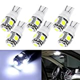 CCIYU 6 Pack White T10 W5W Wedge 168 194 LED Bulb For Dome Light Map Light Trunk Cargo Area Light Glove Box Light License Plate Light