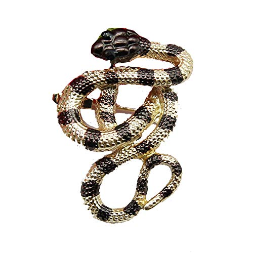 JUESJ Retro Animal Cobra Snake Gecko Brooch Pin,Colorful Enamel Rhinestone Brooch Shape Pins for Women Girls (Snake)