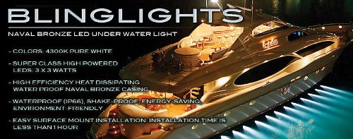 - (2x) Naval Bronze 27 Watt White LED Underwater Boat Lights Marine Yacht Custom Hull Lamps