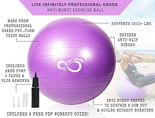 Live Infinitely Exercise Ball (55cm-95cm) Extra Thick Professional Grade Balance & Stability Ball- Anti Burst Tested Supports 2200lbs- Includes Hand Pump & Workout Guide Access Purple 75cm by Live Infinitely (Image #2)