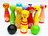 Toys of Wood Oxford Wooden Skittles for Children -Wooden Skittle Set Animal Faces 12 Pieces Large size - wooden toys 2 year old