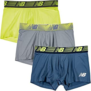 """New Balance Men's 3"""" Boxer Brief No Fly, with Pouch, 3-Pack,Hi Lite/Steel/Vintage Indigo, Large (36""""-38"""")"""