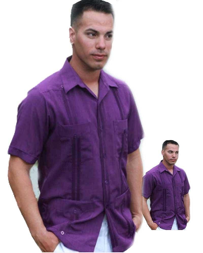 Purple Guayabera Poliester For Men Poliester 38 Medium At Amazon