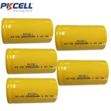 5 Pack D Cell 1.2V NiCd NiCad 5000mah Rechargeable Batteries Flat Top