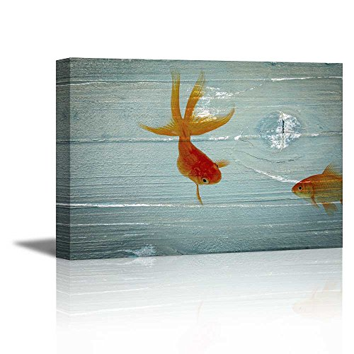 Red Golden Fish on Vintage Wood Background Rustic ation
