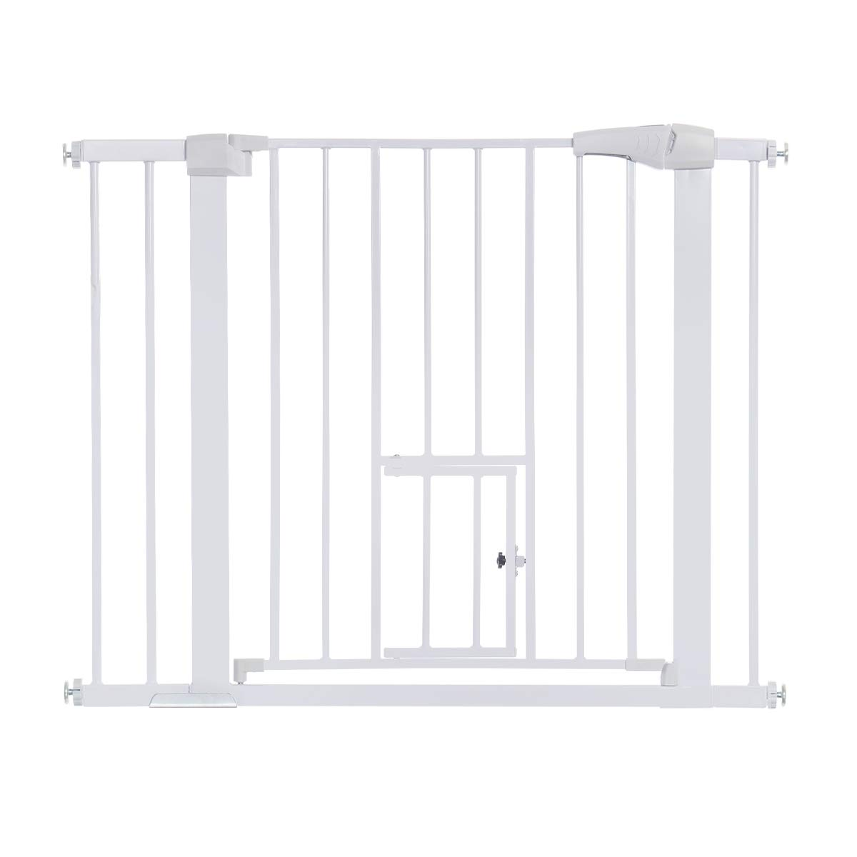 KingSo 40.5 Auto Close Safety Baby Gate Extra Wide Metal Walk Thru Baby Gate with Pet Door for House Stairs Doorways Hallways, Includes 2.75 5.5 Extension Kit, 4 Pressure Bolts, 1 Key White