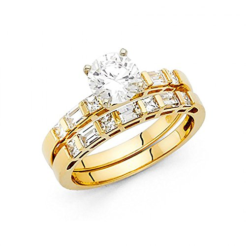 14k Yellow Gold Round Brilliant Cut CZ Engagement Wedding Ring Set with Channel Set Baguette
