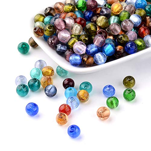 (Craftdady 200Pcs Random Mixed Colors Handmade Silver Foil Lampwork Glass Round Spacer Beads 8mm for DIY Jewelry Craft Making)