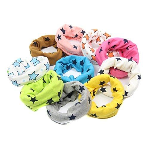 hugestore bebé niñas niños Invierno Star Chunky infinity loop bufanda cuello calentadores círculo bufanda para niños blanco, azul