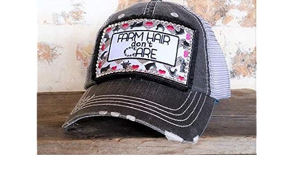 Loaded Lids Womens Farm Hair Dont Care Rhinestone Embellished Baseball Cap Farming