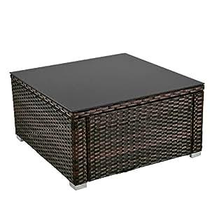 hoffom sillones de parte superior en negro mesa de café con cristal (59x 59cm) Patio muebles de jardín