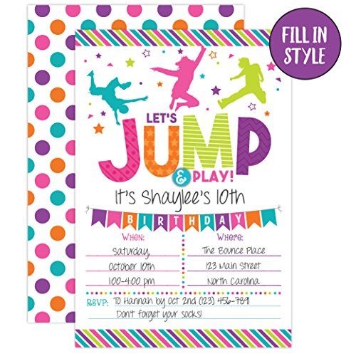 bounce house birthday invitation trampoline jump birthday invite girl bounce birthday bounce and