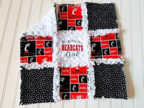 - Cincinnati Bearcats Mini Rag Quilt or Crib Rag Quilt, Boy or Girl, Baby or Fan