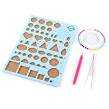 DIY Paper Craft Paper Quilling Template Board Slotted Pen Bead Pins Tweezer Beginner Quilling Tools Kit(8.3x6 Inch) (blue)