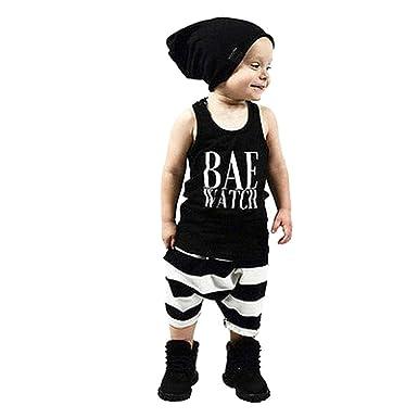 7dbd39211048b Amazon.com  Vicbovo 2018 Fashion Toddler Kids Baby Boy Summer Outftis  Sleeveless Tank Tops Shirts + Striped Shorts Clothes  Clothing
