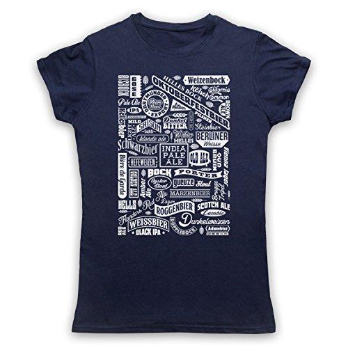 Craft Beer Types Drink Lover Typography Camiseta para Mujer Azul Marino