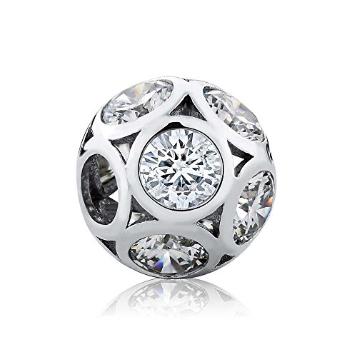 Gem Stone King 925 Sterling Silver Round Shape Cubic Zirconia 13MM Bead Charm