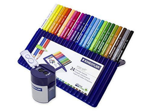 (Staedtler Ergo Soft Coloured Pencils Set of 24 (157SB24) + Double Hole Tub Pencil Sharpener (512001))