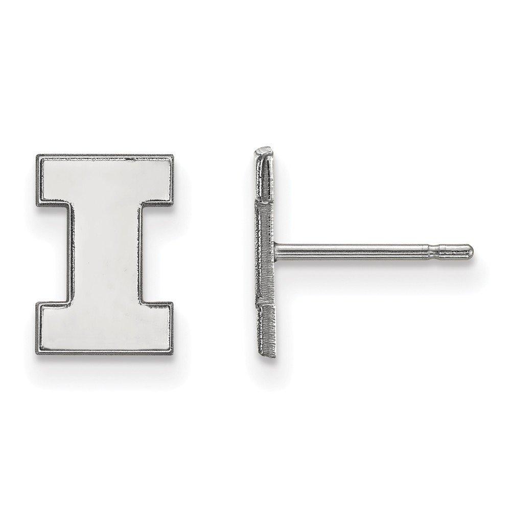 Collegiate University of Illinois Sterling Silver LogoArt University of Illinois XS Post Earrings
