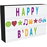 iBoutique A4 Enhanced Cinematic Light up Your Life Letter Box with 100 Pastel Colour Characters, Storage and 8hr Power Timer, Black