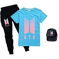 BTS - Juego de camiseta + pantalón+sombrero de sol, unisex, a la moda, XXX, para niños y niñas