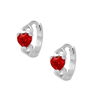 406d29fa9 Baby & Toddler Girl 14K White Gold Heart Simulated January Birthstone Hoop  Earrings